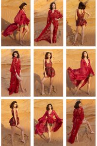 Asra, River Of Paradise Red Bra & Shorts Set