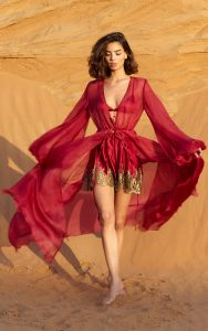 Foglie Oro e Amore Red Short Robe